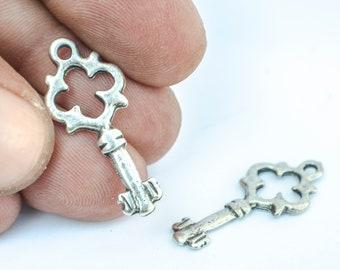 Cute Vintage Key Charm in silver color 30x12mm, Skeleton Key Pendant, Silver key pendant, Cute vintage key
