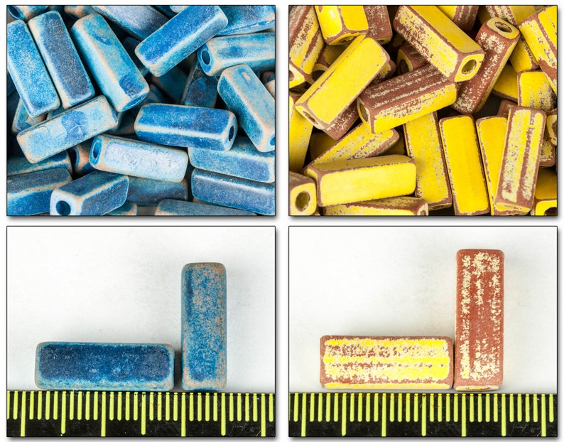 3mm hole ceramic spacer beads 15mm long two matte rustic colors : blue and yellow with worn-out effect 5mm wide 20 pieces cube beads