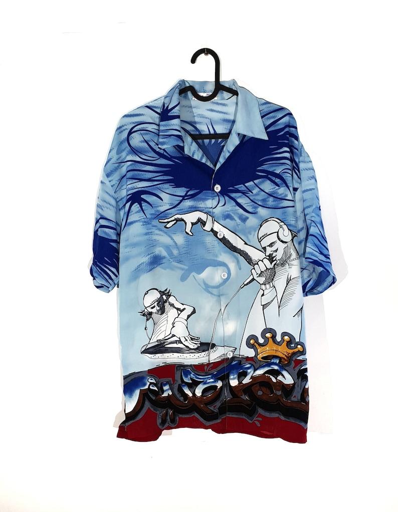 Vintage Shirt Crazy Pattern  Vintage Short Sleeve shirt  Size XL Unisex