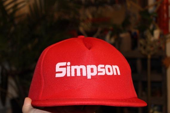1980's Red Simpson Trucker Hat SnapBack