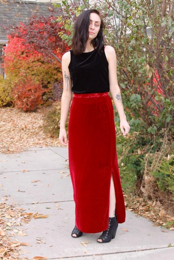 1970's Maroon Velvet Skirt