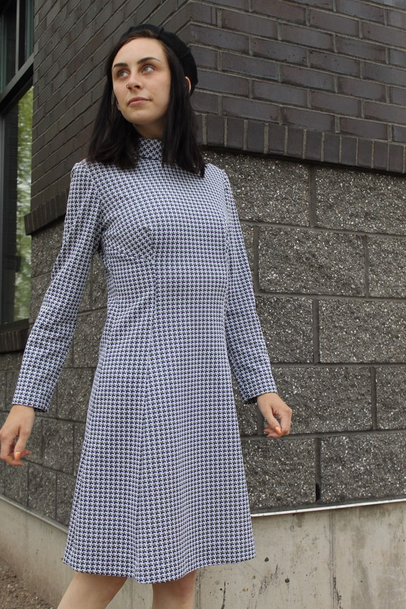 1960's Handmade Long Sleeve Turtleneck Dress