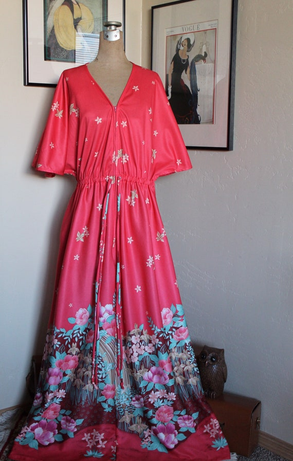 1970's Bohemian Floral House Dress