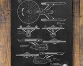 Star Trek Patent Print, Star Trek Patent, Star Trek Starship, Space Poster, Star Trek Wall Decor, Star Trek Blueprint, Patent Poster - P689