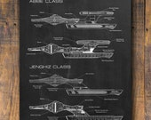 Star Trek Patent Print, Star Trek Destroyer, Star Trek Poster, Star Trek Patent Art, Boys Room Decor, Blue Print H750