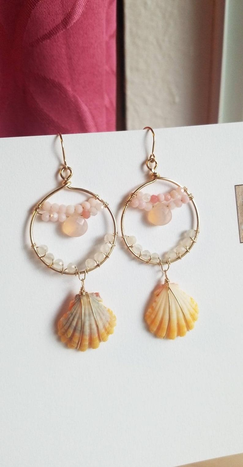 Pink gold hoops with hawaiian sunrise shells