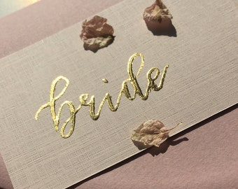Gold Calligraphy Wedding Place Cards, Blush place cards, Wedding guest name cards, Guest name tags, Rose gold wedding place cards