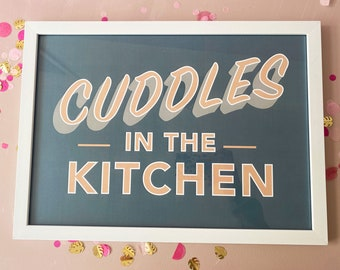 A3 grey quote poster, Cuddles in the Kitchen lyrics from Arctic Monkeys song