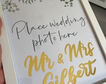 Wedding gift idea  |  Gold wedding married couple name sign | Personalised wedding gift ideas | Mr & Mrs sign | Wedding photo frame