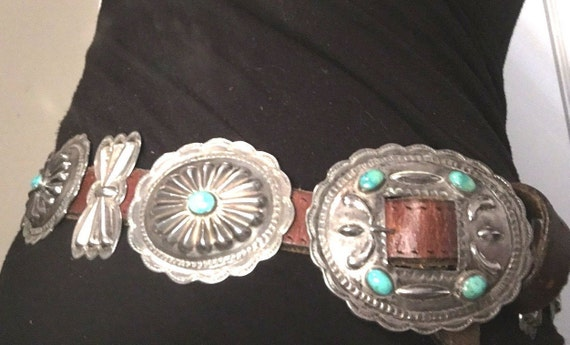 Vintage Concho Belt Silver & Turquoise