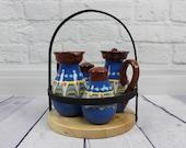 Ceramic Oil and Vinegar Dispenser Set Kitchen Olive Oil Bottle Salt and Pepper Shakers Salad Spice Set Cruet Vintage Pottery 5 Pieces Set