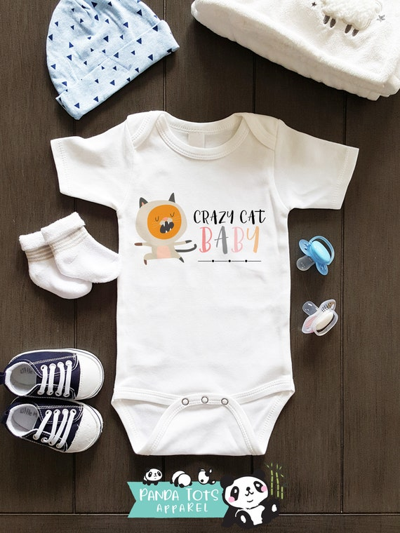 Crazy Cat Baby Bodysuit, Kitty, Cute, Cat Themed Bodysuit, Baby Girl Clothes, Baby Shower Gift