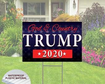 TRUMP BUILD THE WALL 2020 18x24 Yard Sign Corrugated Plastic Bandit Lawn MAGA