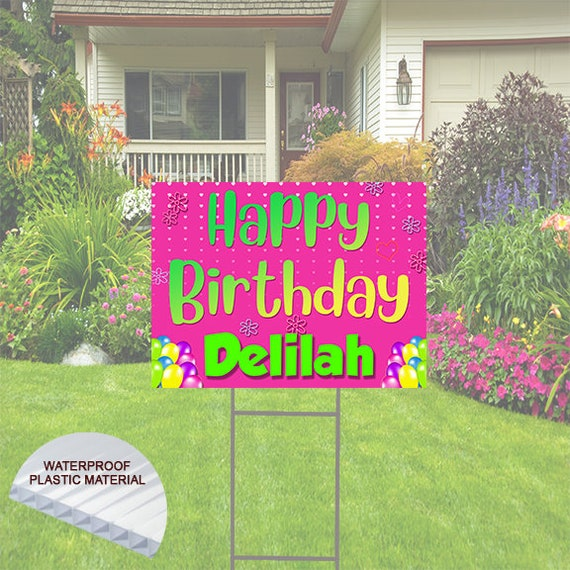 Happy Birthday Balloons  Yard Sign  Pink Background  comes with H-Stake  24x18 printed on coroplast
