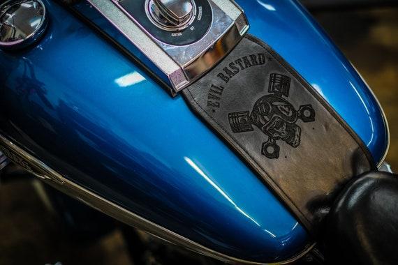 Harley Davidson Evil Bastard Skull Custom Leather Gas Tank Panel Bib