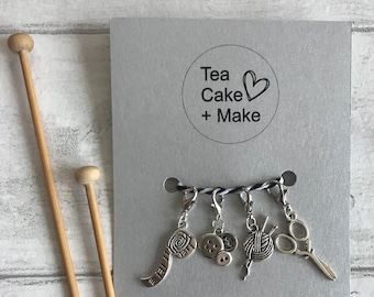 Set of 4 Craft theme Stitch markers/Progress keepers for knitting and crochet projects