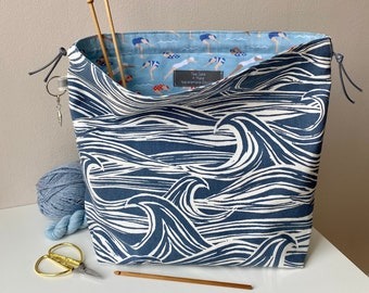 Drawstring project bag, perfect for knitting, crochet, yarn and other crafts. Handmade drawstring cotton bag. Craft gift