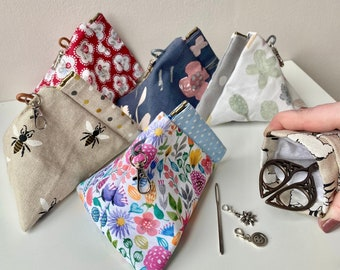 Flexi snap frame notions pouch with clip - various prints available