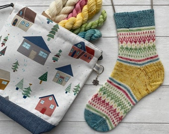 Home for Christmas Sock Kit - knitting kit including project bag, pattern and hand dyed yarn