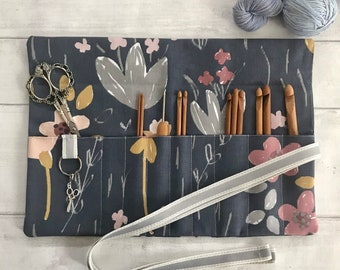 Crochet Hook Roll or Interchangeable Needle Case with stitch marker ring and 9 pockets. Perfect crafting gift