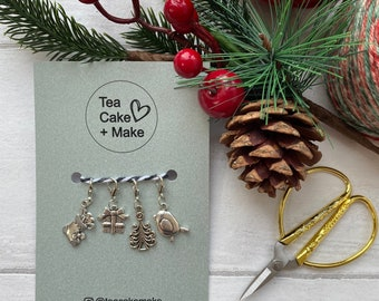 Set of 4 Christmas theme Stitch markers / Progress Keepers  for knitting and crochet projects