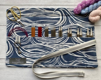 Crochet Hook Roll, DPN or Interchangeable Needle Case with 9 pockets. Perfect crafting gift