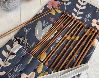 Knitting Needle Case with stitch marker ring and 7 pockets. Knitting needle roll and organiser. Great knitting gift