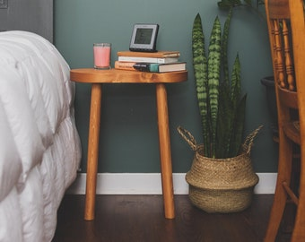 Modern Oval Top Nightstand. Reclaimed Handcrafted Wooden End Table or Plant Stand.