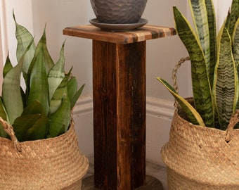 Reclaimed Barnboard Pedestal Plant Stand. 100% Salvaged Handmade Wooden Rustic Style Corner Stand