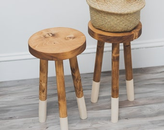 """Handcrafted Wooden Stool. """"The Willow"""" Tripod Dipped-legged Round Top Plant Stand"""