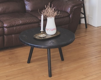"""Large Round Top """"Stubby"""" Coffee Table. Circle Top Black Tripod Coffee Table"""