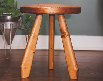"""Paddle Legged Tripod Stool. """"The River"""" Reclaimed Wooden Tripod Stand."""