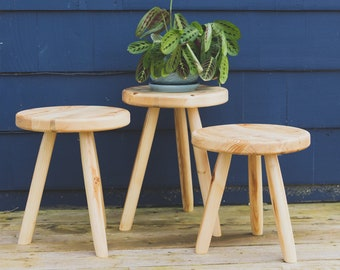"""Outdoor Tripod Patio Stool. """"The Evans"""" Outdoor Plant Stool."""