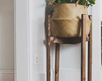 Modern Posted Plant Stand. Mid Century Reclaimed Wooden Indoor Plant Stand