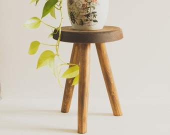 """Reclaimed Wooden Handmade Tripod Stool. """"The Morrison"""" Tripod Stool. Handcrafted in PEI"""