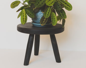 Stubby Tripod Thick Round-top Stool. Repurposed Handmade Wooden Tripod Plant Stand