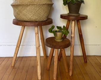 Wide Top Tripod Stool. Handcrafted Reclaimed Wooden Variable Size Top Tripod Plant Stand