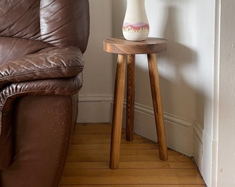 """Boho Round Top Tripod Stool Table. """"The Amos"""" End Table. Handmade Reclaimed Wooden Stool"""