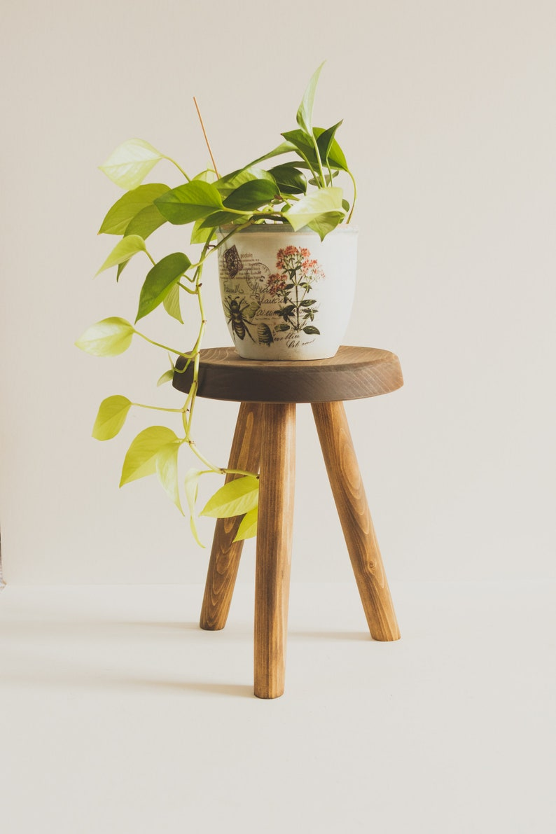 Reclaimed Wooden Handmade Tripod Stool. The image 0