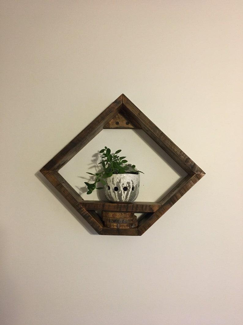 Handmade Rustic Diamond-shape Plant Shelf. Reclaimed Wooden image 0