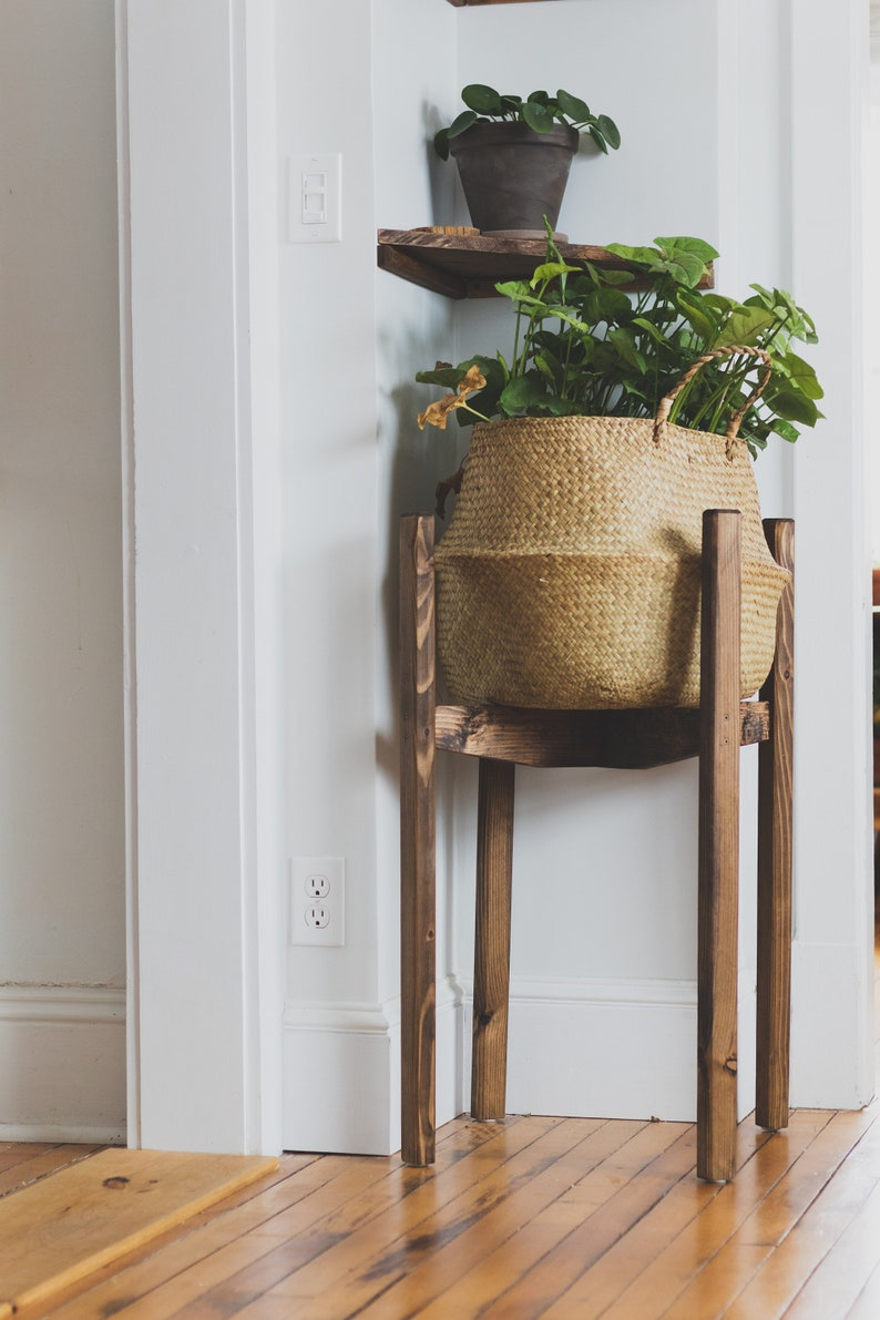 Modern Posted Plant Stand. Mid Century Reclaimed Wooden Indoor image 0