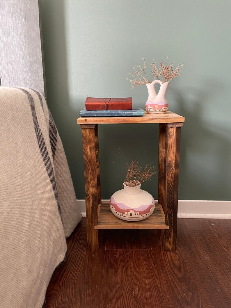 Minimalist Styled Double Shelved Plant Stand. Reclaimed Wooden image 0