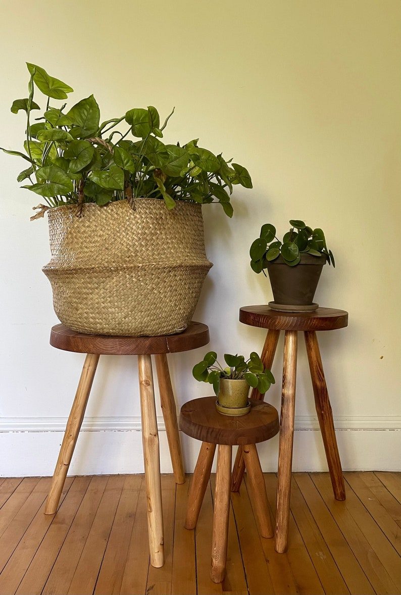 Wide Top Tripod Stool. Handcrafted Reclaimed Wooden Variable image 0