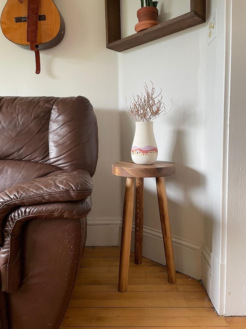 Boho Round Top Tripod Stool Table. The Amos End Table. image 0