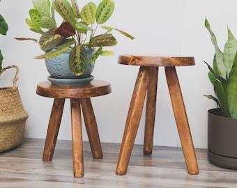 Tripod Round-top Stool. Repurposed Handmade Wooden Tripod Plant Stand