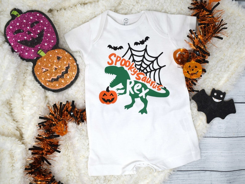 Halloween Baby outfit Halloween Dino Outfit Baby First Halloween Halloween Dino Shirt Halloween Dinosaur Romper Trick or Trick Dino