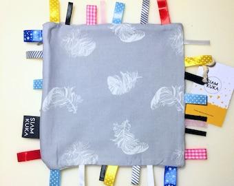 Metkowiec _ Zabawka Sensoryczna _ Zabawka z Metkami _ Gryzak _Sensory Baby Toy_ Tag Toy_ Taggie_ Teathing_ Newborn Gift_ Ribbon Blanket