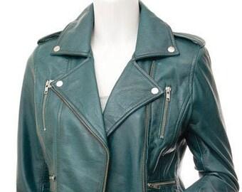 193cfbda1 Teal leather jacket | Etsy