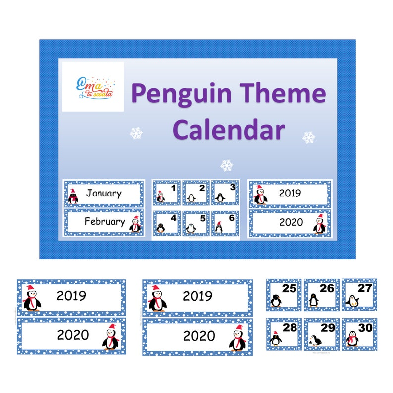 photo about Penguins Printable Schedule referred to as Penguin Concept Calendar for Youngsters, Printable Clroom Calendar, Electronic Cl Decor