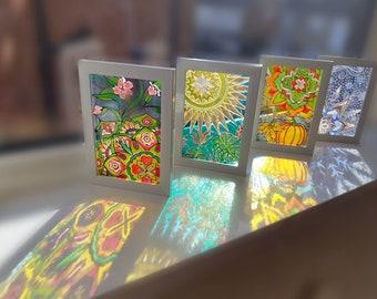 Four seasons suncatchers، four seasons stained glass, mandala suncatcher, glass art, glass painting, vitray, Spring,  Summer ,Autumn, Winter